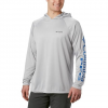 Columbia Men ' S Pfg Terminal Tackle Hoodie - Big - Cool Grey , Vivid Blue Logo