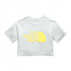 The North Face Women ' S Short Sleeve Half Dome Cropped Tee - Tin Grey / Stinger Yellow Logo