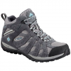 Columbia Women ' S Redmond Mid Waterproof Hiking Shoe - Light Gray / Sky Blue