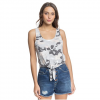 Roxy Women ' S Same Old Love Cropped Tie - Front Tank Top - Heritage Heather Darwin