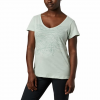 Columbia W Hidden Lake V - Neck Tee - Cool Green Heather / Linear Trailscape