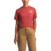 The North Face Women ' S Short Sleeve Logo Marks Tri - Blend Tee - Sun Baked Red