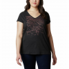 Columbia W Hidden Lake V - Neck Tee - Plus Sizes - Black Heather / Linear Trailscape