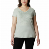 Columbia W Hidden Lake V - Neck Tee - Plus Sizes - Cool Green Heather / Linear Trailscape