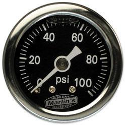 Marlin's Black 0-100 PSI Liquid-Filled Oil Pressure Gauge
