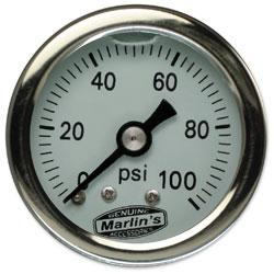 Marlin's White 0-100 PSI Liquid-Filled Oil Pressure Gauge