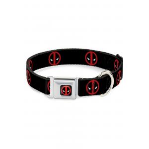 "Marvel Logo Deadpool Black Seatbelt Buckle Dog Collar- 1"" Wide"