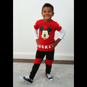 Boys 2PC Mickey Mouse Long Sleeve Shirt and Pant Set for Toddlers