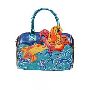 'Pescado Oro' Koi Fish Irregular Choice Turquoise Handbag