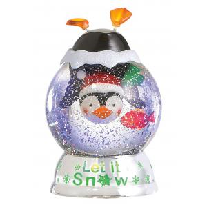 """Let it Snow"" Lighted LED Shimmer Penguin Dome"