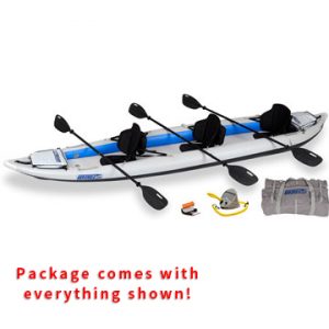 sea eagle fasttrack 465ft inflatable kayak pro 3 person package- Save 29% Off - Sea Eagle FastTrack 465FT Inflatable Kayak Pro Tandem Package -  This package includes the Sea Eagle FastTrack 465FT Inflatable Kayak, 3 AB40 paddles, 3 tall back kayak seats, A41 foot pump, repair kit, and a carry bag.