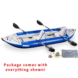 Sea Eagle Explorer 380X Inflatable Kayak Deluxe Tandem Package: Save 31% Off - Sea Eagle Explorer 380X Inflatable Kayak Deluxe Tandem Package - This package includes the Sea Eagle Explorer 380X Inflatable Kayak, 2 AB30 paddles, 2 deluxe kayak seats, A41 foot pump, repair kit, and a carry bag.
