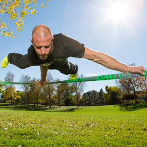 aggro line slackline kit- Save 7.% Off - Slackline Industries Aggro Line Slackline Kit - Designed to achieve dynamic movement and bounce at great distances, the Aggro Line from Slackline Industries is ideal for large trees, water lines, tricks or challenging walks. Custom-designed trampoline-style webbing is made for slacklining and provides extra bounce for dynamic tricks. This two-piece slackline is fully adjustable and easily installed between trees or other sturdy anchor points. The heavy-duty, long-lever XL ratchet includes 8 feet of static webbing and a reinforced loop to firmly anchor and tension the Aggro slackline, allows for progression to long lines and advanced tricks. An easy-to-use backup line is included as an added safety measure. This is an important precaution for tricklining which amplifies force on the line. Explore your wild side with the Slackine Industries Aggro Line kit.