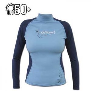 stohlquist women's burnout rashguard kayak shirt- Save 4.% Off - Stohlquist Women's Burnout Rashguard Long Sleeve Kayak Shirt - Stohlquist Burnout rashguards provide you with excellent protection from the sun's harmful rays with the highest UPF 50+ rating. The nylon/spandex blend is comfortable, highly breathable, and quick drying. Flat-stitched seams are comfortable against your skin. The athletic fit and sunburn protection make it a great solo piece for summer, but Stohlquist Burnout Rashguards can also be worn as a base layer in cooler weather.