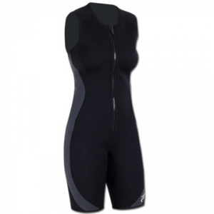 NRS Little Jane Neoprene Wetsuit: Save 45% Off - NRS Little Jane Neoprene Kayaking and Rafting Wetsuit - The Little Jane wetsuit from NRS is the most popular women's shorty on the market. Lightweight, stretchy 2-mm Terraprene neoprene keeps you warm in cooler conditions without unnecessary bulk. Titanium laminate adhesive reflects heat back to your body, keeping you warmer. Woman-specific tailoring provides added room across the bust and a narrower span across the shoulders. Generous armholes give you excellent range of motion while durable flat-lock seams lie flat on your skin for greater comfort. Short-cut legs give increased freedom without sacrificing core warmth, offering tremendous versatility for rafting, kayaking, or any other water sport. Giving you extra warmth without cramping your style, you'll really love the  NRS Little Jane wetsuit.
