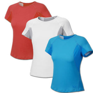 Mountain Hardwear Women's Aliso T-Shirt: Save 66% Off - Mountain Hardwear Women's Aliso Short Sleeve T - A wicking shirt with one of the fastest Moisture Management Transport rates out there, the Aliso Short Sleeve T will keep you cool and dry. A double knit polyester face fabric with a hydrophobic propylene backing moves moisture quickly, leaving the inner layer dry and comfortable. Strategically placed Stretch mesh panels aid venting and offer a close fit. Flat-lock seam construction eliminates chafing, and an antimicrobial finish helps controls odor. Reflective trim adds visibility for early and late runs. Nothing will keep you drier on long run than the Mountain Hardwear Aliso Short Sleeve Zip T shirt.
