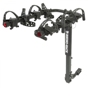 rhino-rack 4 bike hitch mount carrier- Save 10% Off - Rhino-Rack 4 Bike Hitch Mount Carrier - The 4 Bike Hitch Mount Carrier by Rhino-Rack lets you turn your 2 person ride into a trip for 4. This premium rack is first-class in bike carriers, it is made of sturdy steel construction with a black powder coat finish. It works with kid's bike's, mountain bike's, race bikes, bike's with disc brakes and bike's with wide tires. Whether you're just transporting your bikes, having a family get away, or a quick trip to the park, you'll wonder how you ever got along without it. Carrying up to four bikes, it fits both 2