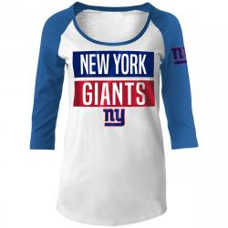 New York Giants Women's Scoop Neck A 3/4 Raglan Sleeve Tee - White, S