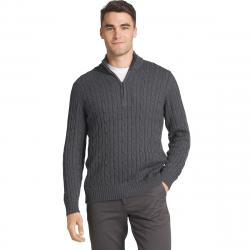 Izod Men's Fieldhouse 1/4 Zip Long-Sleeve Sweater - Black, XXL