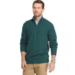 Izod Men's Newport 1/4 Zip Long-Sleeve Sweater - Green, M