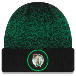 Boston Celtics On-Court Reverse Cuffed Knit Beanie - Black, ONESIZE