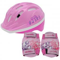 Cosmic Kids' Bike Helmet And Pad Set - Red, ONESIZE