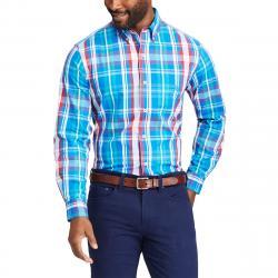 Chaps Men's Stretch Poplin Medium Plaid Long-Sleeve Shirt - Blue, M