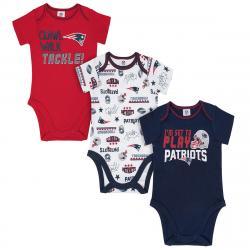 New England Patriots Infant Boys' Bodysuits, 3-Pack - Blue, 18M