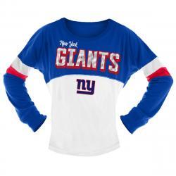 New York Giants Big Girls' Sequin Crew Long-Sleeve Shirt - Blue, 7-8X
