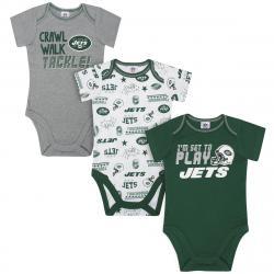 New York Jets Infant Boys' Bodysuits, 3-Pack - Green, 0-3M