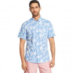 Izod Men's Dockside Chambray Short-Sleeve Floral Button-Front Shirt - Blue, M