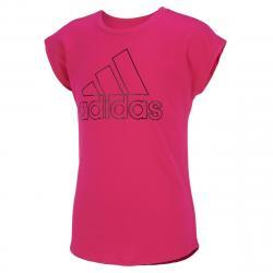 Adidas Girls' Drop Shoulder Tee - Red, S