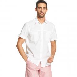 Izod Men's Dockside Short-Sleeve Shirt - White, M