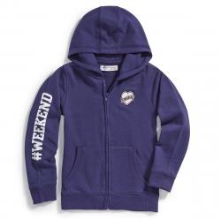 Minoti Big Girls' Fleece Graphic Hoodie - Blue, 3-4