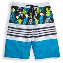 Burnside Guys' Paradise Caribbean Board Shorts - Blue, S