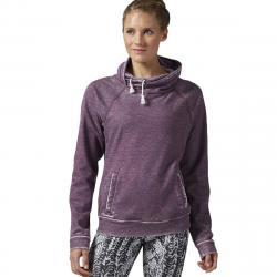 Reebok Women's Burnout Cowl Neck Hoodie - Purple, L