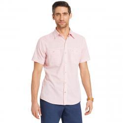 Izod Men's Saltwater Dockside Chambray Short-Sleeve Shirt - Red, XXL