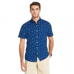 Izod Men's Breeze Printed Poly Poplin Short-Sleeve Shirt - Blue, XXL