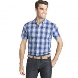 Izod Men's Breeze Plaid Poly Poplin Short-Sleeve Shirt - Blue, XL