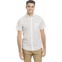 Izod Men's Breeze Printed Poly Poplin Short-Sleeve Shirt - White, XXL