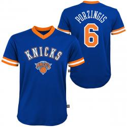 New York Knicks Big Boys' Kristaps Porzingis Name And Number V-Neck Mesh Short-Sleeve Fashion Top - Blue, L