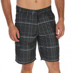 Burnside Guys' Plaid Microfiber Cargo Shorts - Black, 30