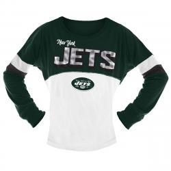 New York Jets Big Girls' Sequin Crew Long-Sleeve Shirt - Green, 14-16