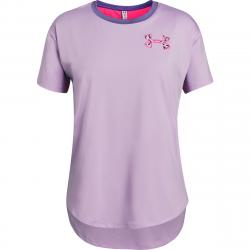 Under Armour Girls' Heatgear Armour Short-Sleeve Shirt - Purple, M