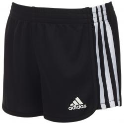Adidas Little Girls' Three-Stripe Mesh Shorts - Black, 5