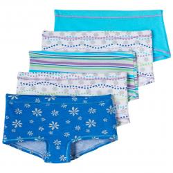 Hanes Girls' Cotton Stretch Boy Shorts, 5-Pack - Various Patterns, 12