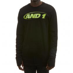 And1 Men's Long-Sleeve Logo Tee - Black, M