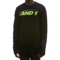 And1 Men's Long-Sleeve Logo Tee - Black, XXL