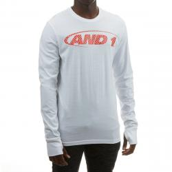 And1 Men's Long-Sleeve Logo Tee - White, XXL