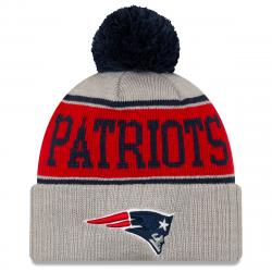 New England Patriots Men's Stripe Cuffed Knit Beanie With Pom